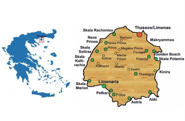 Ostrov Tasos Na Karte Grecii